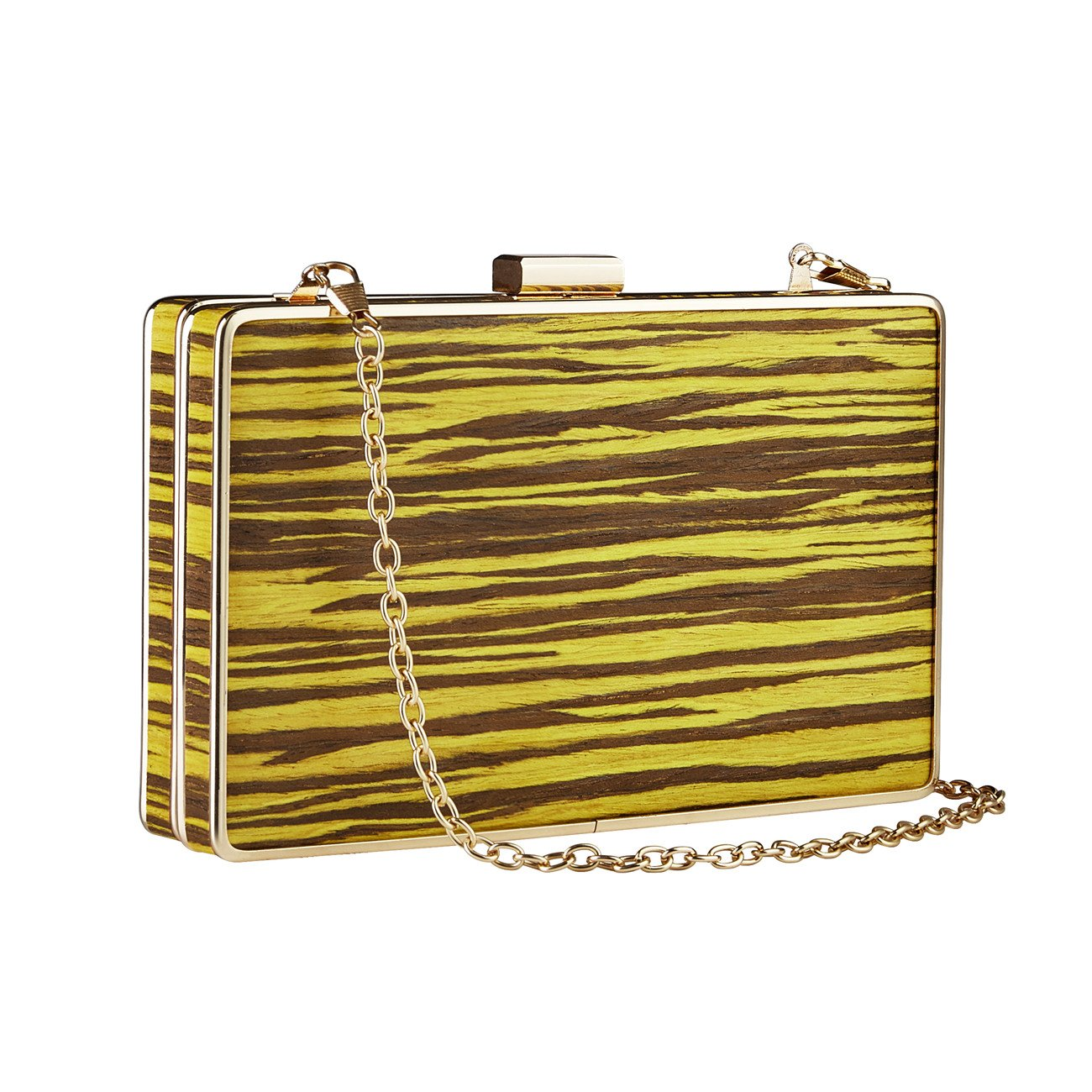 GGBAZZARA Vintage Wood grain Handbags For Womens Purse Party Clutches (yellow)
