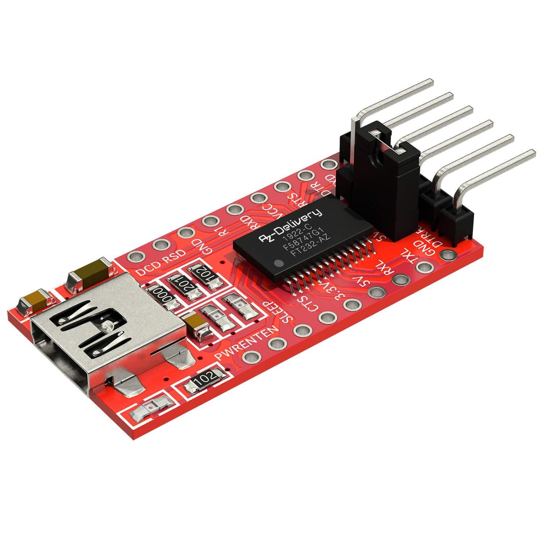 AZDelivery FT232RL Adaptador,USB a TTL Serial Adaptador Convertidor, Módulo convertidor 3.3 V y 5V compatible con Arduino con E-Book incluido!