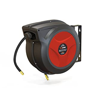 "ReelWorks 27807153A Plastic Retractable Air Compressor/Water Hose Reel with 3/8"" x 50' Hybrid Polymer Hose, Max. 300 psi"