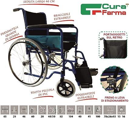 Sedia A Rotelle Pieghevole Leggera Ad Autospinta Carrozzina Per Disabili Ed Anziani Braccioli E Poggiapiedi Estraibili Originale Cura Farma