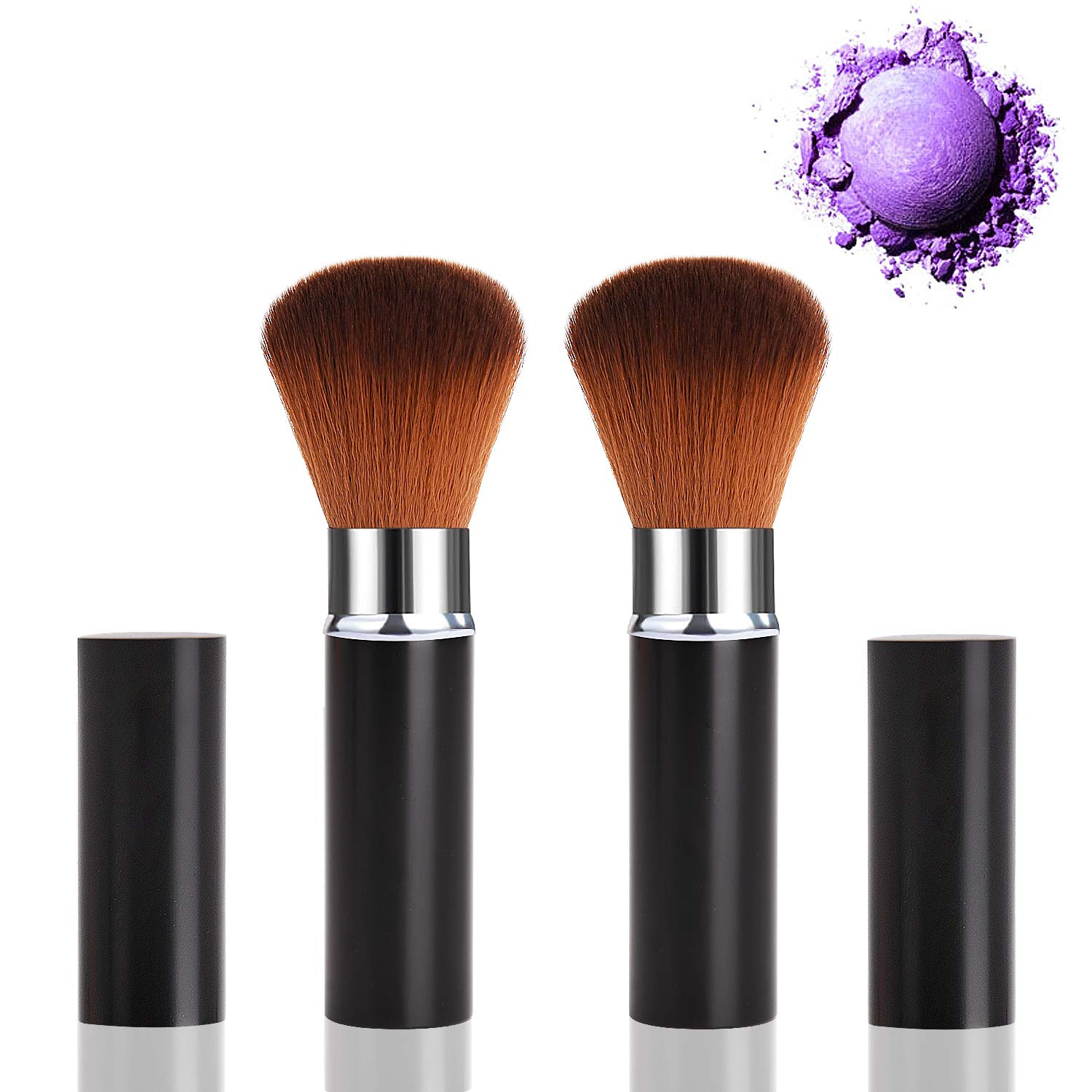 2 Pack Professional Kabuki Blush Brush, Soft Oval Foundation Brush Retractable Makeup Brushes Travel Kit Beauty Tool with Soft Synthetic Bristles for Face Cosmetic Contour Mineral Powder Concealer