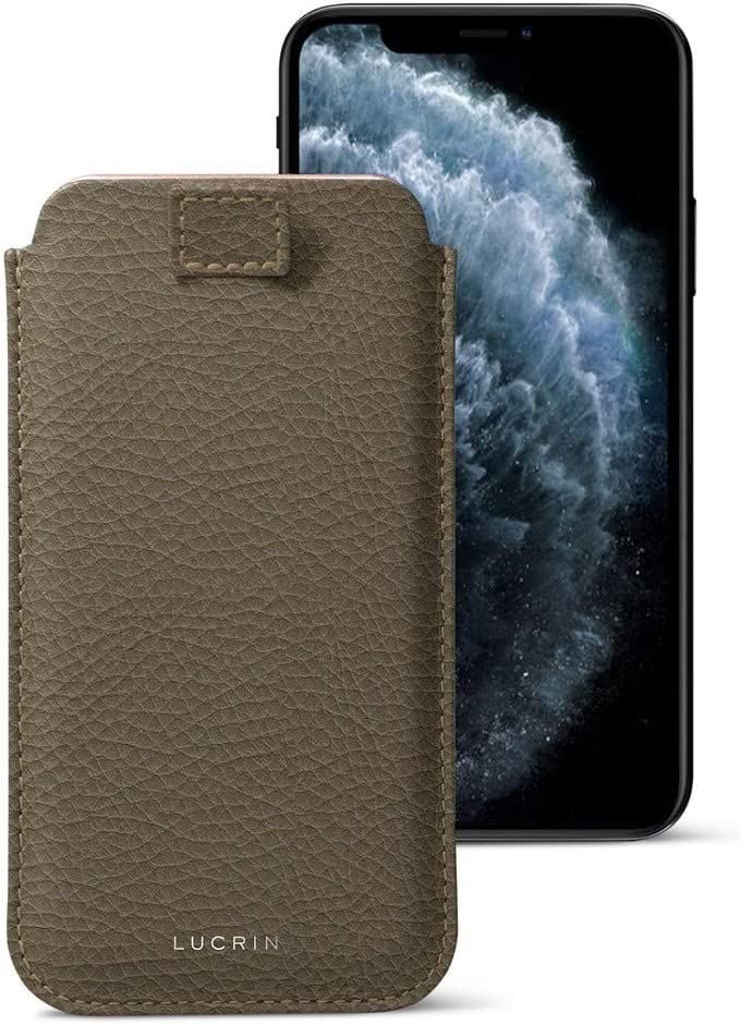 Lucrin - Pull Tab Slim Sleeve Case Compatible with iPhone 11 Pro/iPhone Xs/iPhone X and Wireless Charging - Dark Taupe - Granulated Leather