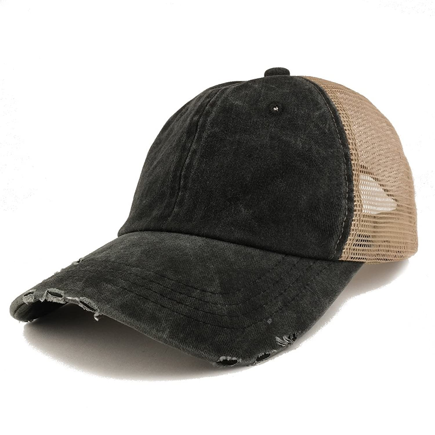 d83ddeb9 Trendy Apparel Shop Pigment Dyed Front Mesh Back Frayed Bill Trucker ...