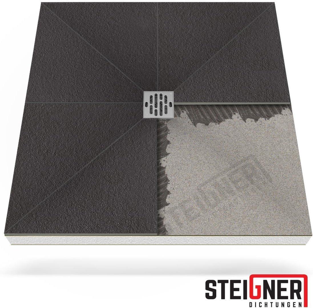 STEIGNER Receveur de Douche Mineral BASIC Drain Central Vertical Receveur de Douche sans Bassin de Douche 100x100 cm
