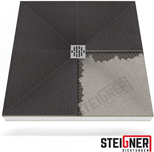 STEIGNER Receveur de Douche Mineral PLUS Drain Central Drain Horizontal Plaque en EPS 90x100 cm