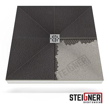 Duschwanne ebenerdig  Duschelement MINERAL BASIC Duschboard befliesbar 100x140 cm Ablauf ...