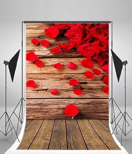 Amazon Com Ofila Rose Flowers Backdrop 3x5ft Petals Wood Floordrop