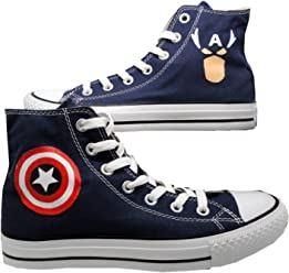 0c9cd9f0de12 Captain America Dc Comics Hi Top Sneakers Marvel Canvas Avengers Biue Shoes
