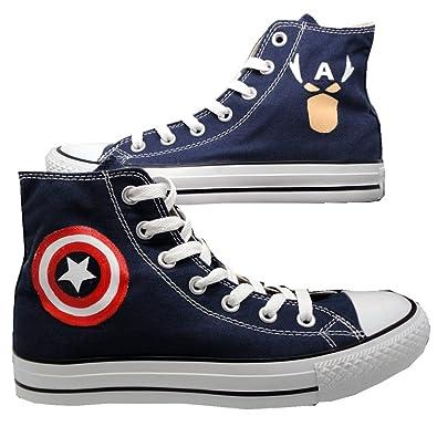 e79fd9f5b76 Captain America Dc Comics Hi Top Sneakers Marvel Canvas Avengers Biue Shoes  (EUR 34/