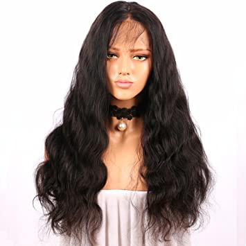 Amazon.com  BlueSpace Lace Front Wig for Women Black Long Curly Hair  Looking Natural Wave Heat Resistant Fiber Glueless Synthetic Wigs 24inch   Beauty d5ef6d7a6