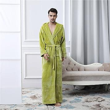 YAN Hombres Robe Franela de Lujo con Capucha Chal Cuello Bata Bata de baño Gimnasio Ducha SPA Hotel Robe Vacaciones (Color : 3, tamaño : Metro): Amazon.es: ...
