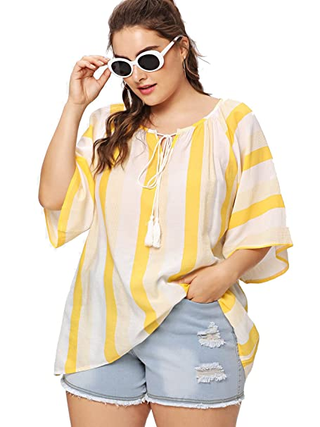 26cbfc7a5 Milumia Plus Size Summer Striped Tops Loose Fitting Baggy 3 4 Sleeves  Knotted Scoop Neck Blouses