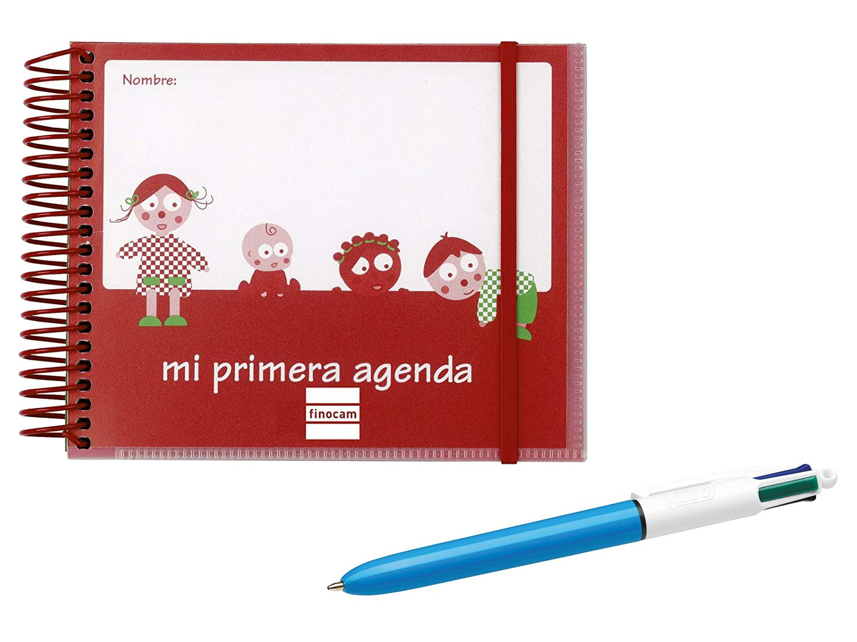 Finocam - Agenda infantil perpetua 0-3 años 1 día página 160 x 130 mm + Bolígrafo BIC 4 Colores Medium