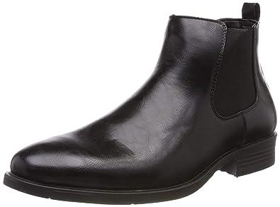 9efd811ca50a34 Stylische Herren Stiefeletten Chelsea Boots Business Leder-Optik  Knöchelhohe Stiefel Schuhe 127369 Schwarz Gefüttert 39
