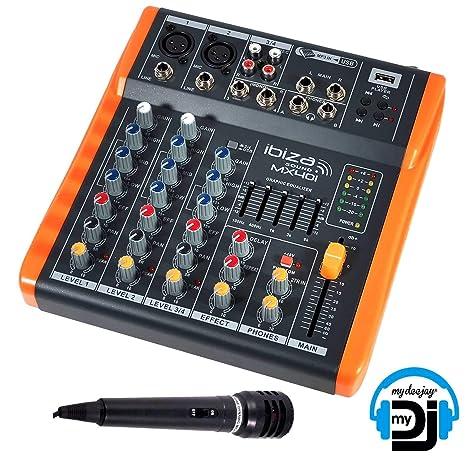 Mesa de mezclas/Console 4 canales extra compacta USB - Ibiza Sound ...
