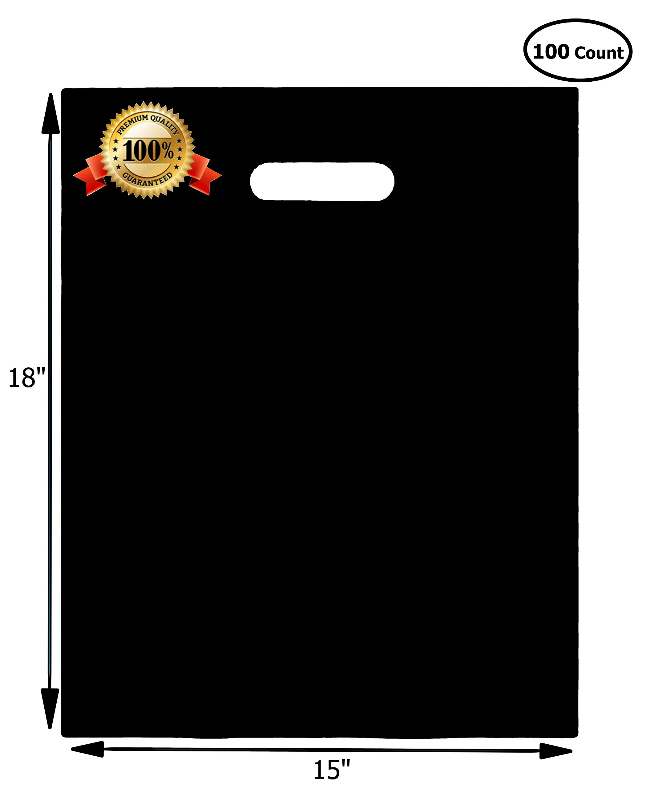 100 Merchandise Bags 15x18 Black, Die Cut Handles, Gusset, 1.25 Mil. Strong, Durable, and Tear Resistant Bags Perfect for Retail, Boutiques or Events