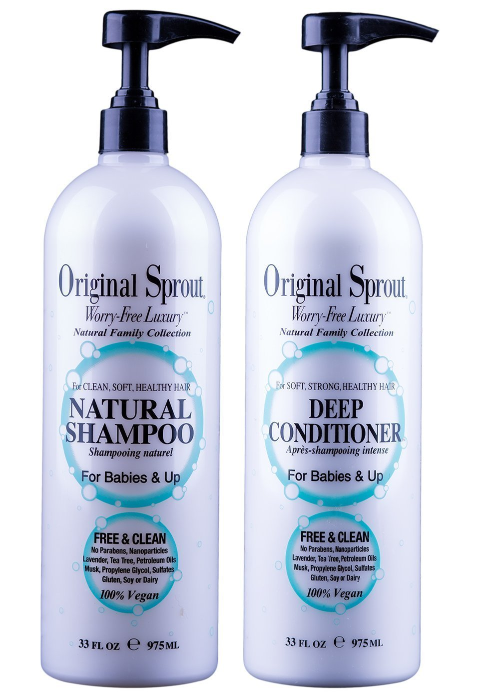 Original Sprout Natural Shampoo and Deep Conditioner Bundle. Organic Sulfate Free Shampoo and Deep Conditioning Treatment for Natural Hair Care. 33 oz each. by Original Sprout