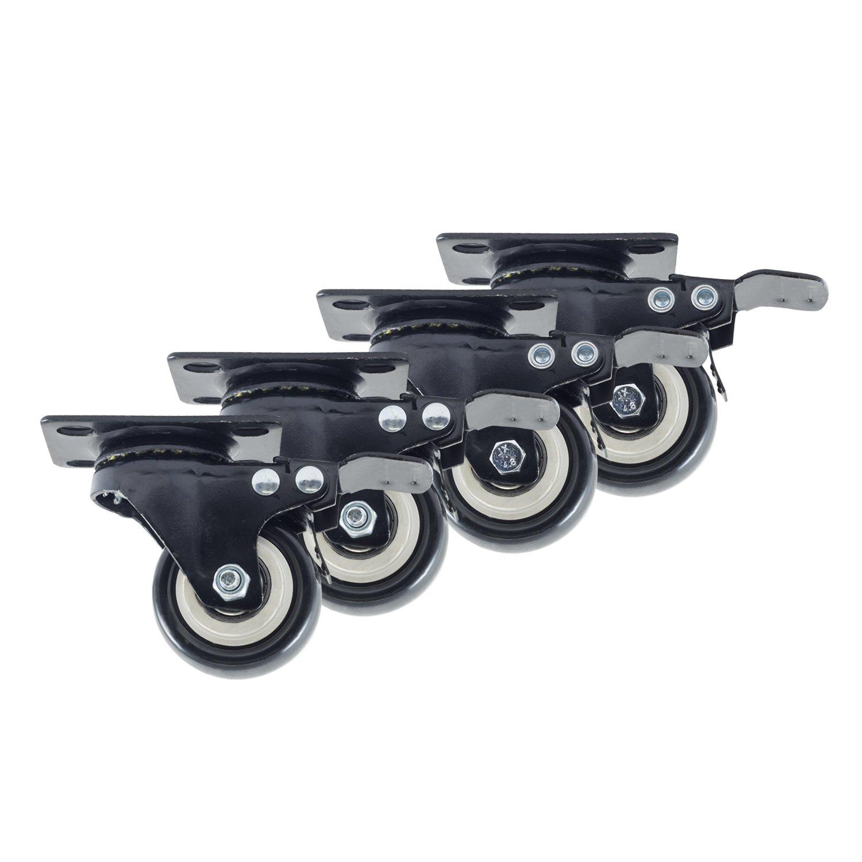 Houseables Caster Wheels, 4 Locking Castors, 2 Inch, Black, Heavy Duty, 600 LB Total Capacity, Threaded, Metal Swivel Brake Casters, Locking, Rubber Wheel, Castor Set, For Furniture, Dolly, Carts