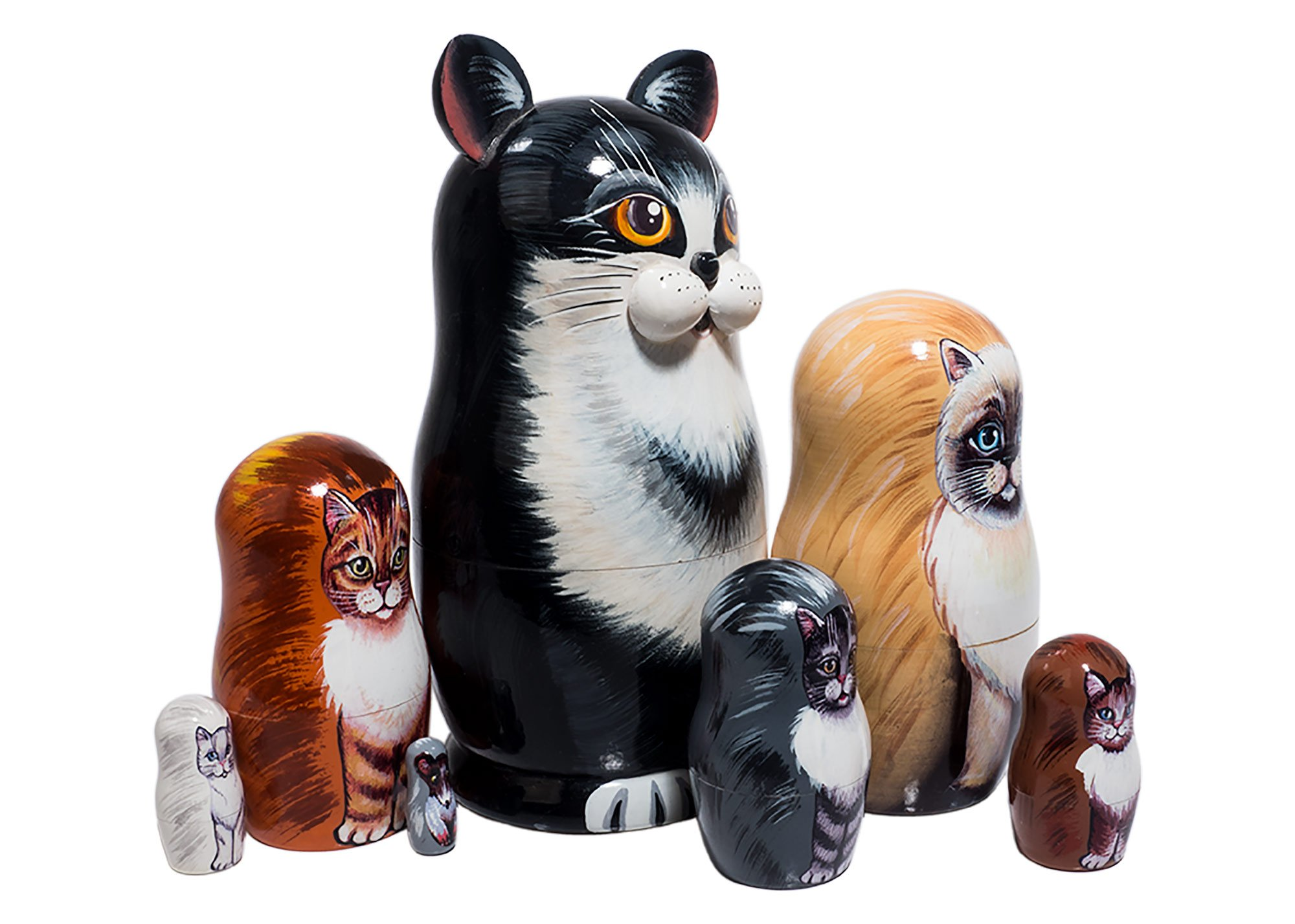 Black & White Cat Russian Nesting Doll 7pc./7''