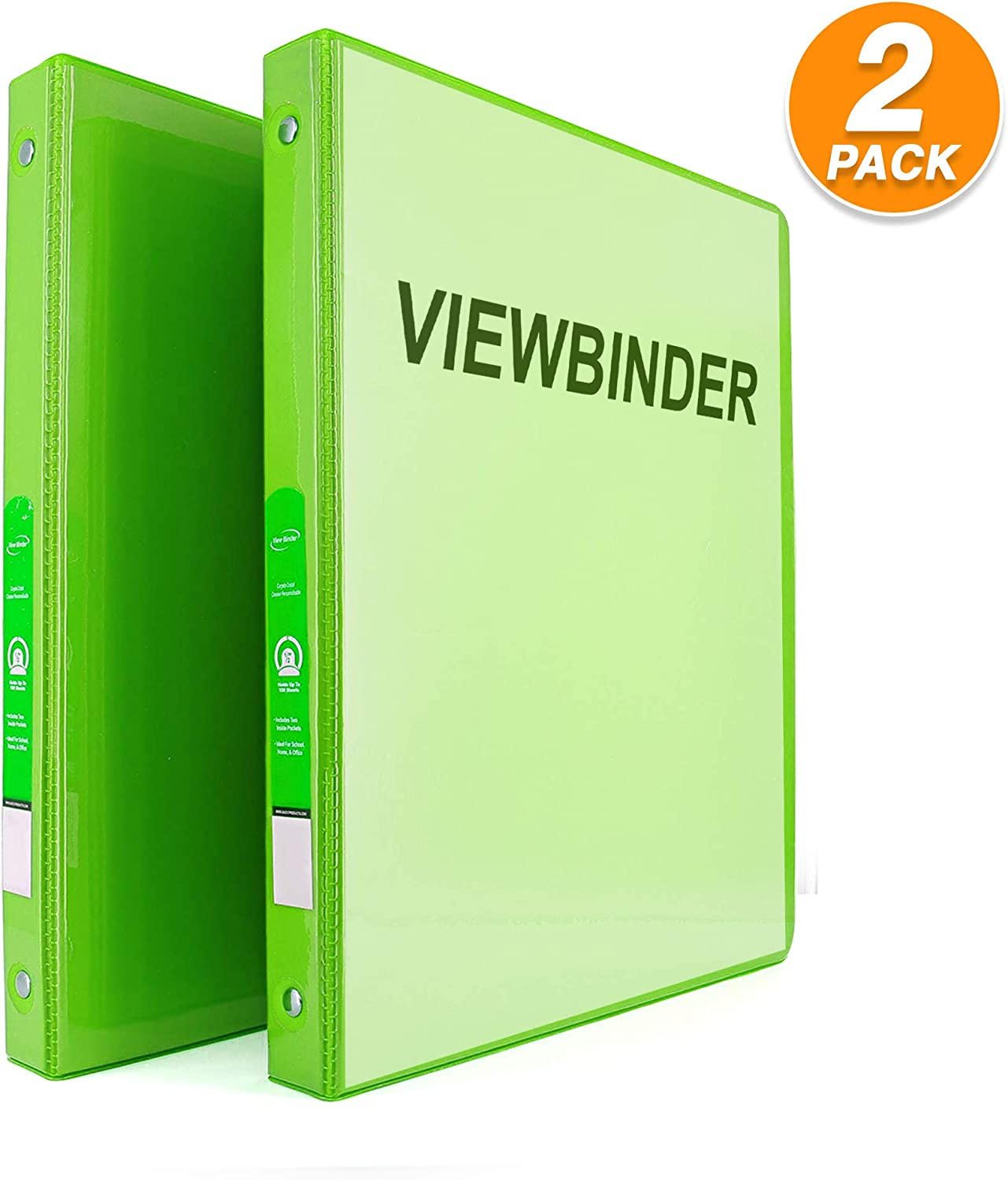"""3 Ring View Binder 1/2"""" Inch with 2 Pockets Ideal for Office, School, Home for organizing Projects, Presentations and More Available in Lime Green (Pack of 2) by - Emraw"""
