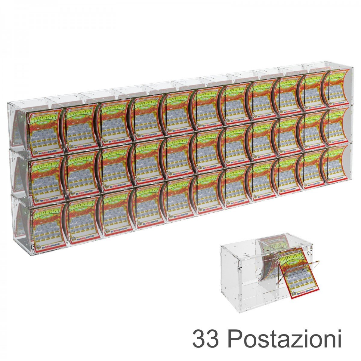 Espositore gratta e vinci da banco o da soffitto in plexiglass trasparente a 33 contenitori munito di sportellino frontale lato rivenditore