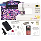 Janome 7330 Computerized Sewing Machine Bundle with Purple Tote, One 10-Pack Janome Bobbins, One Pack Size 14 Needles
