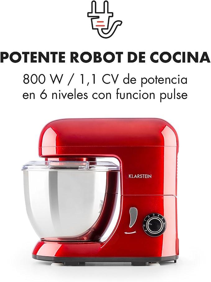 Klarstein Bella Pico Mini - Robot de cocina, Batidor, Amasador, 550 W Nominal, 800 W Pico Máx, 6 niveles, 4 Litros, Brazo multifunción, Sistema planetario, Acero inoxidable, Rojo: Amazon.es: Hogar