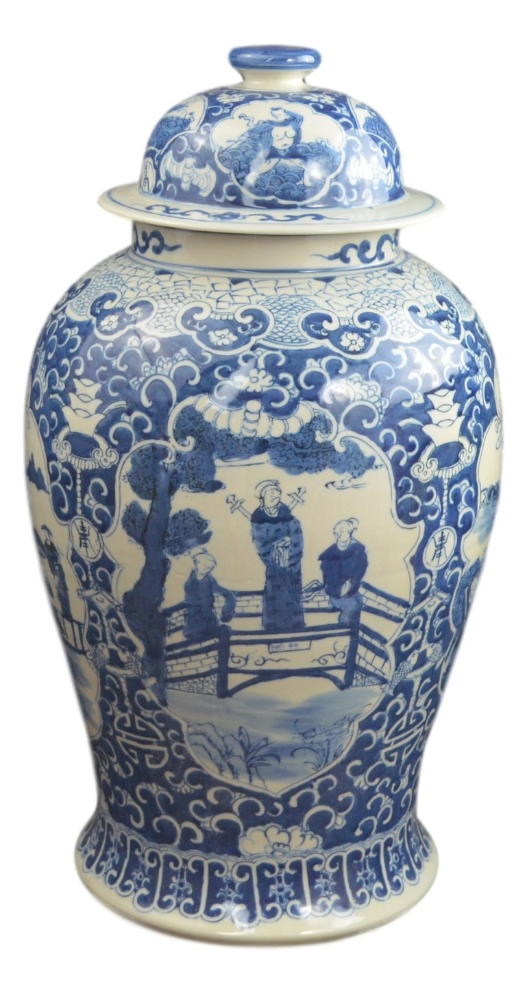 19'' Antique Finish Blue and White Porcelain Ancient Figures Temple Ceramic Jar Vase, China Ming Style, Jingdezhen (L4)