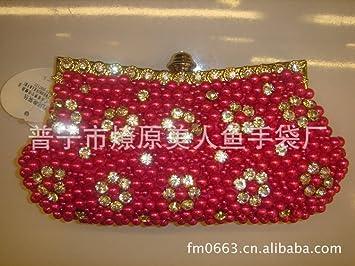 FYios Perla Satinado Bolsa de Maquillaje artesanales Diamante Perla Satinado Bordadas Bolso Novia Moda Bolsa Bolsa de cosméticos,Rosa roja: Amazon.es: ...
