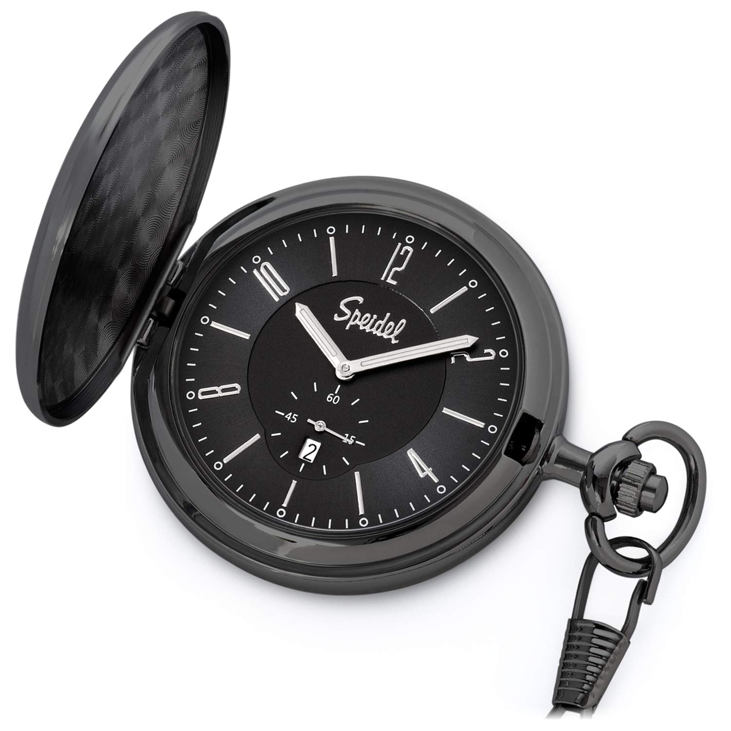 Speidel Classic Brushed Satin Black Engravable Pocket Watch with 14'' Chain, Black Dial, Date Window, Seconds Sub-Dial and Luminous Hands