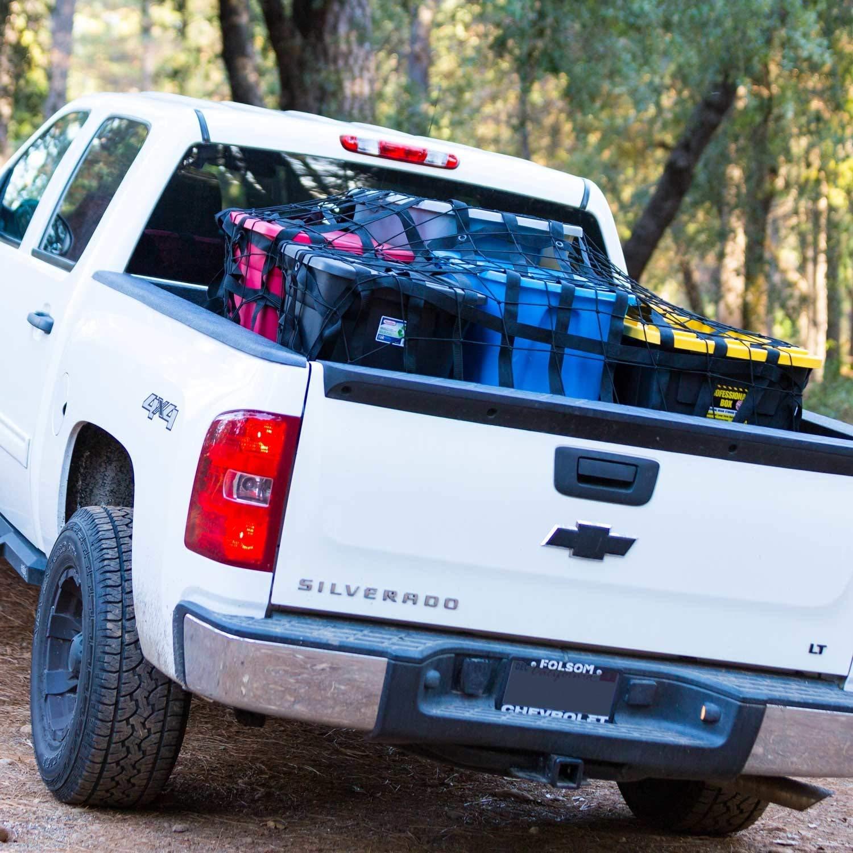 Rakapak Rugged Truck Bed Cargo Net with Additional Elastic Net Included 8 feet x 6.75 feet