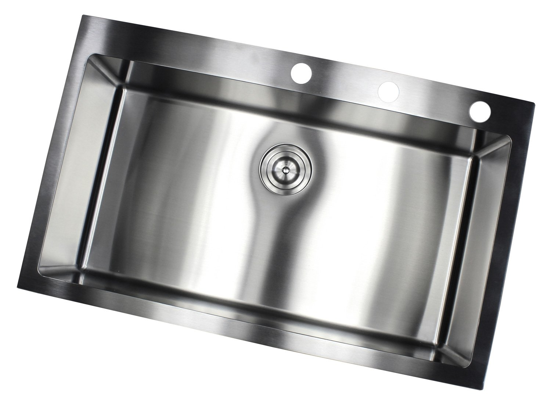 Merveilleux 36 Inch Topmount / Drop In Stainless Steel Single Bowl Kitchen Sink 15mm  Radius Design 16 Gauge With Accessories     Amazon.com
