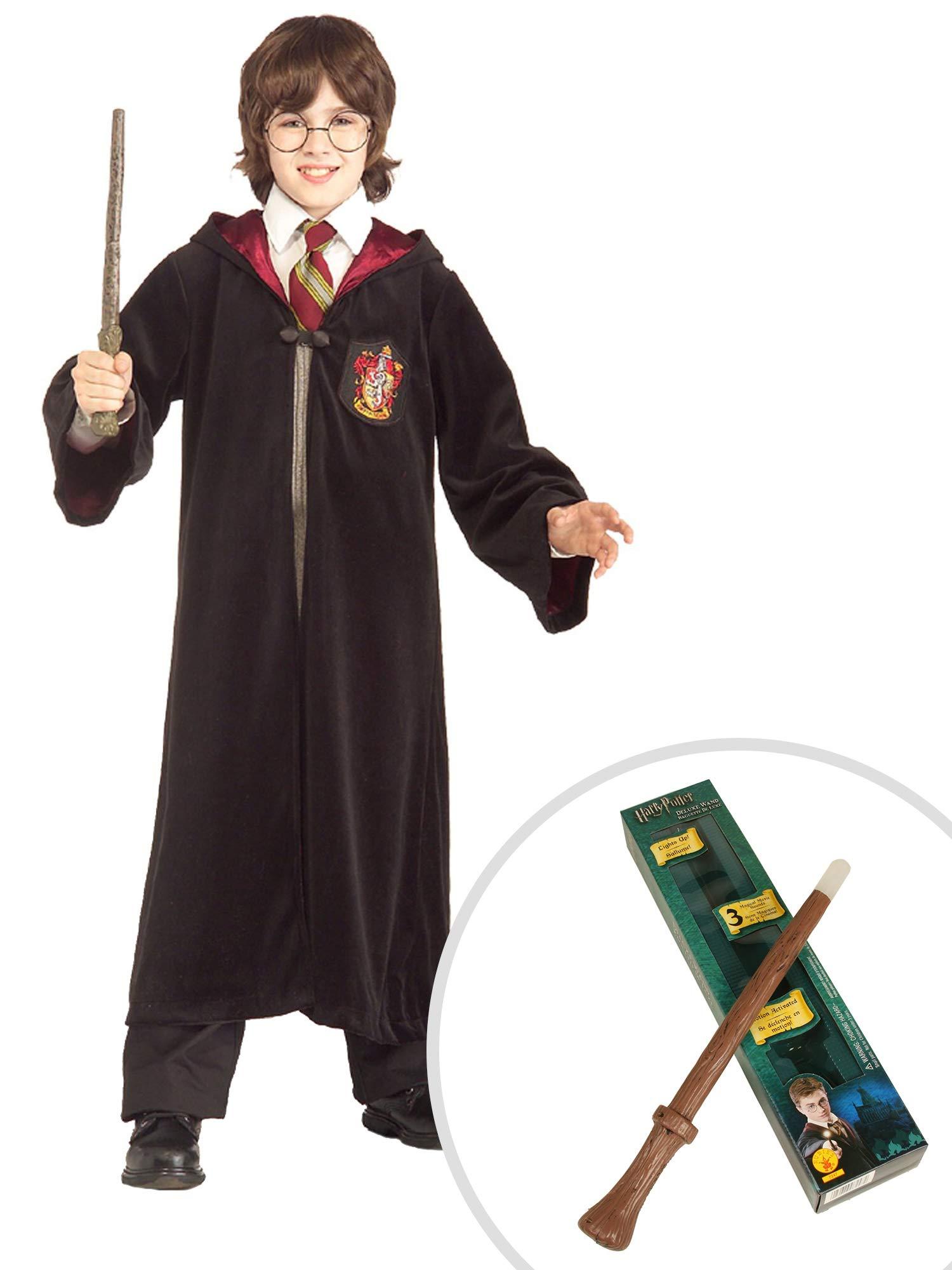 Harry Potter Gryffindor Costume Kit Kids Medium Premium Robe With Magical Wand