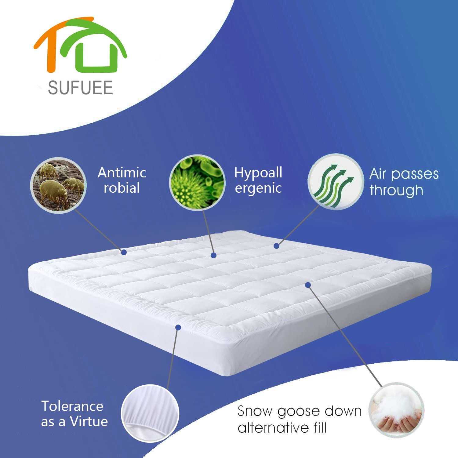 Duo-V Home Hypoallergenic Down Alternative Quilted Pillow Top All Seaons Hotel Quality Mattress Cover Twin Mattress Pad Cover Fitted