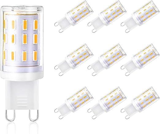 Nicht Dimmbar,Halogenlampe Sockel G9 Energieklasse A+ Fulighture G9 Halogen Lampe,G9 leuchtmittel 360/° Abstrahlwinkel,350 Lumen,10-Pack 350lm Halogen Birne Warmwei/ß 3000K 25W Leuchtmittel G9