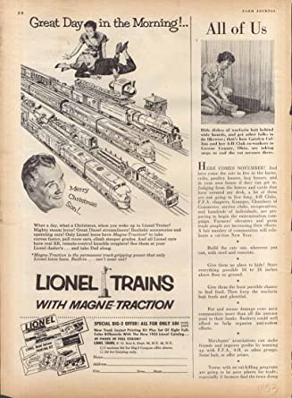 Lionel Magne Traction Toy Train Ad 1953