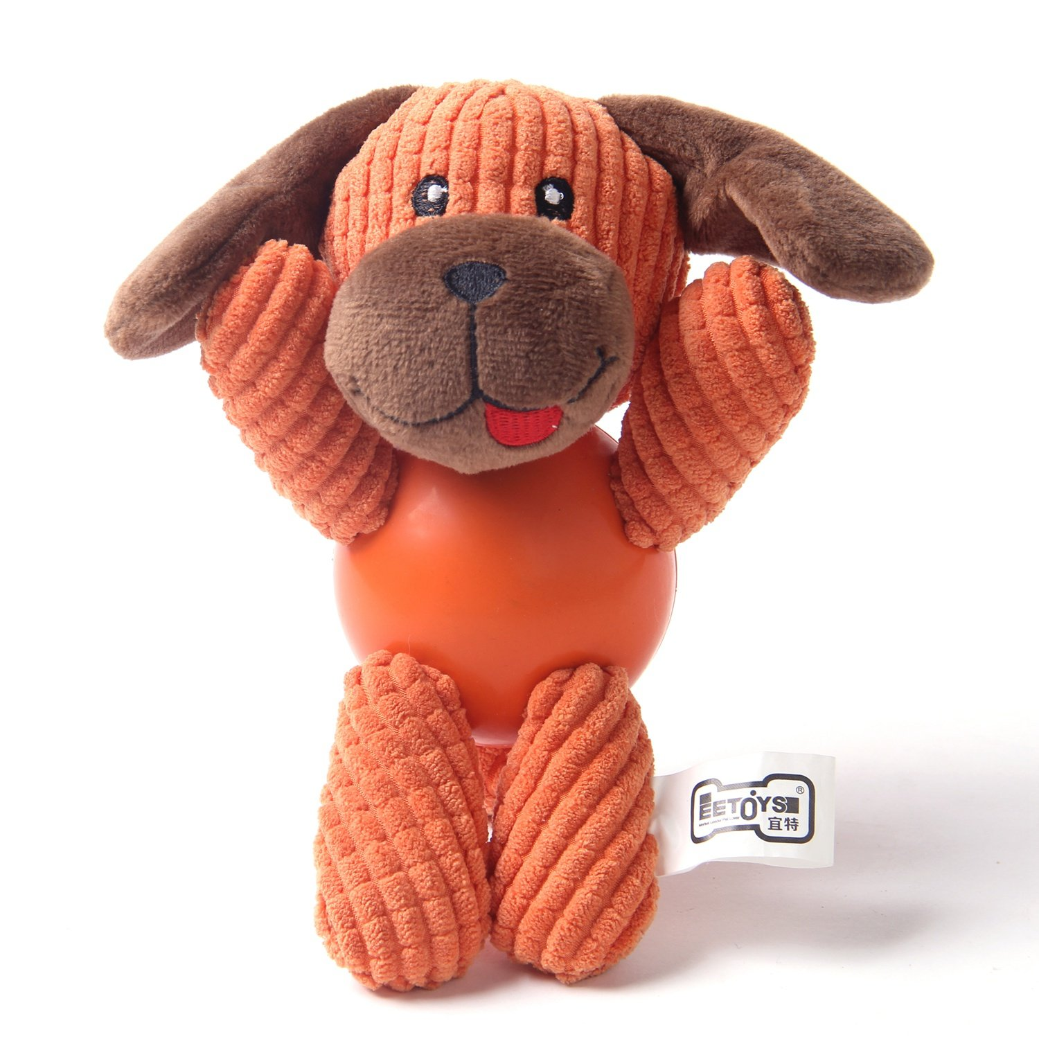 orange Dog Small orange Dog Small EEToys Squeaky Plush Toy Low Stuffing Durable Animal Toy for Small Dog