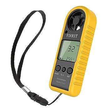 FIXKIT Anemómetro con Alta Precisión del Sensor de Presión de Velocidad del Viento y Temperatura, Portátil y Fácil para Uso: Amazon.es: Jardín