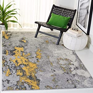 Safavieh Adirondack Collection ADR134H Modern Abstract Distressed Area Rug, 3' x 5', Grey/Yellow