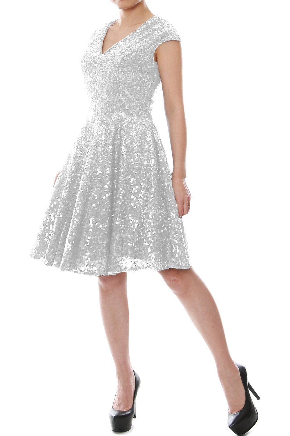 MACloth Women Cap Sleeve V Neck Sequin Short Bridesmaid Dress Formal Party Gown (8, Silver)