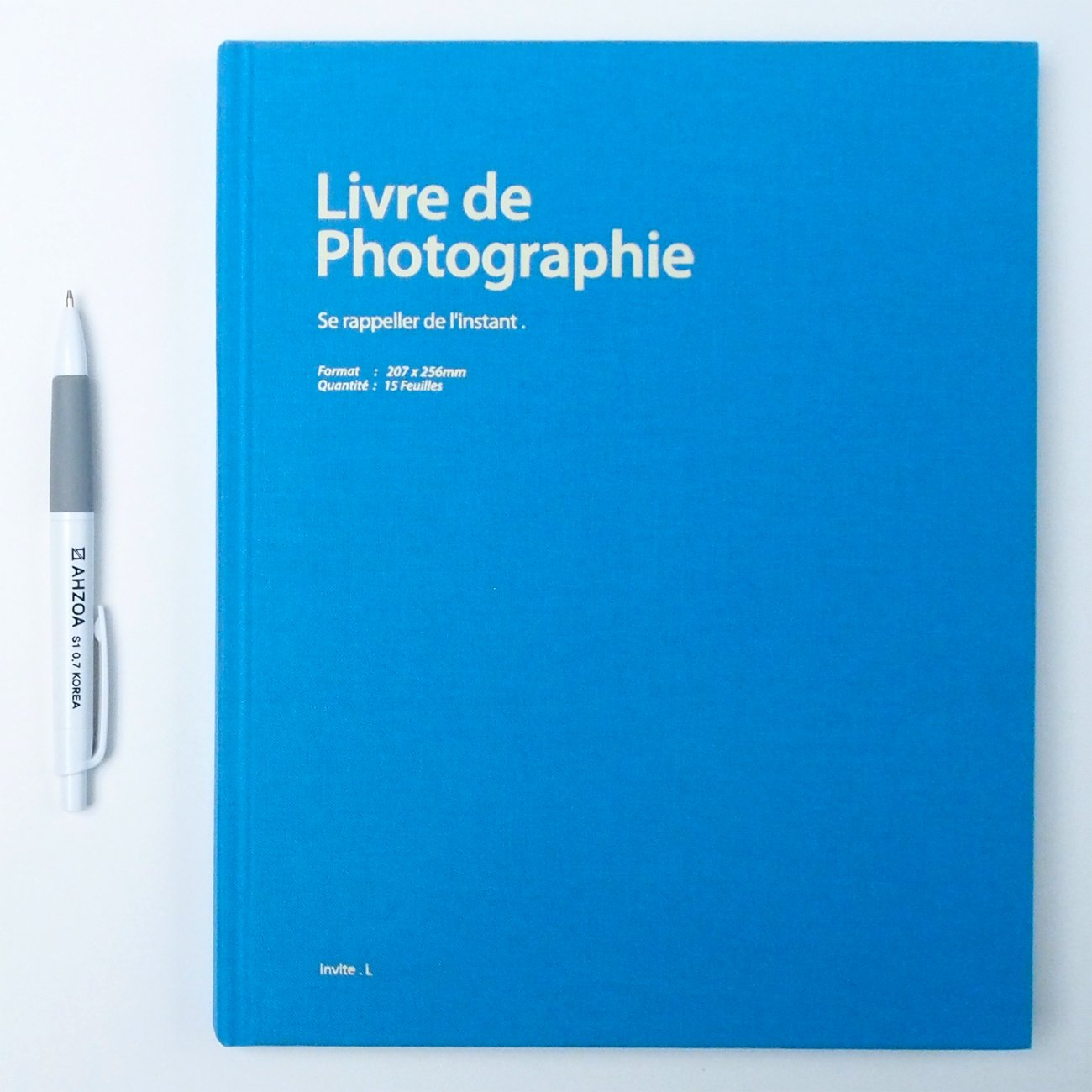 Sky Blue invite.l // AHZOA Bookcloth Photo Album with AHZOA Pencil 8.27 x 10.24 Inch 30 Pages