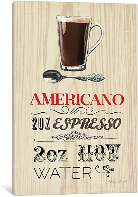 Amazon Com Icanvasart Wac801 Americano Canvas Print 18 By 12 Inch 0 75 Inch Deep Posters Prints