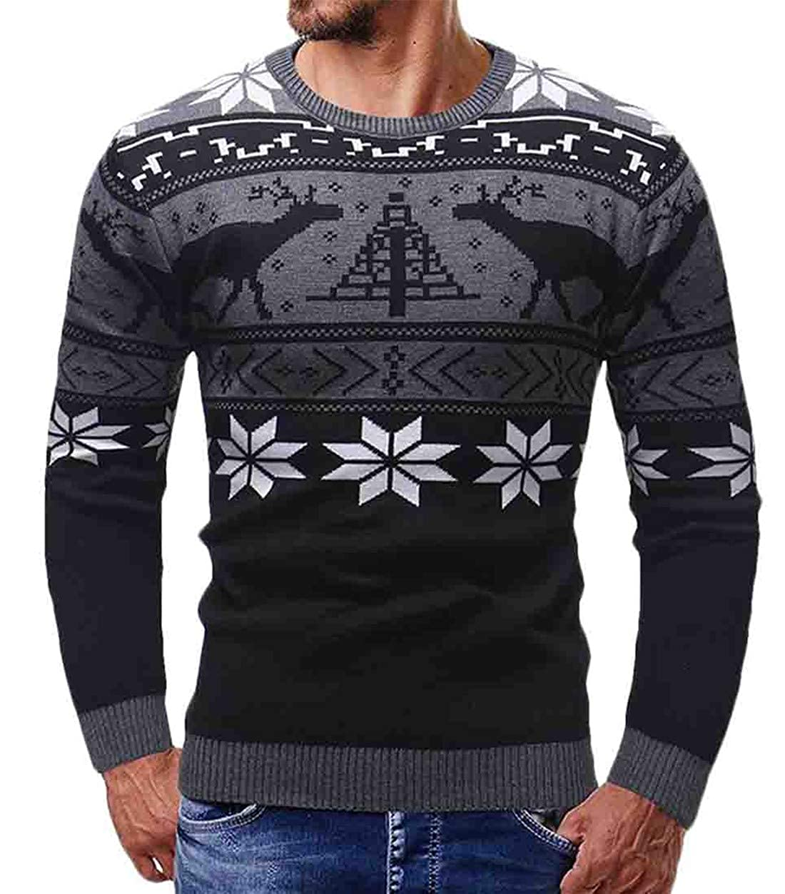 SELX Men Thick Pullover Jumper Knit Slim Fit Christmas Printed Crew Neck Sweater