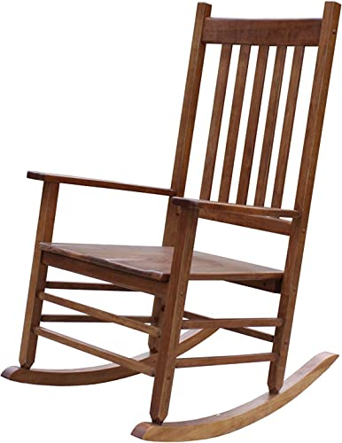 Rockingrocker-A001YNT Natural Indoor Rocker Rocking Chair -Easy to Assemble-Comfortable Wide Size-Outdoor or Indoor Use