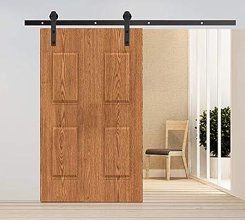 httrading 6.6 ft marrón oscuro deslizante Granero Puertas Hardware País Estilo Antiguo Granero de madera Set de armario de hardware de la puerta deslizante de acero