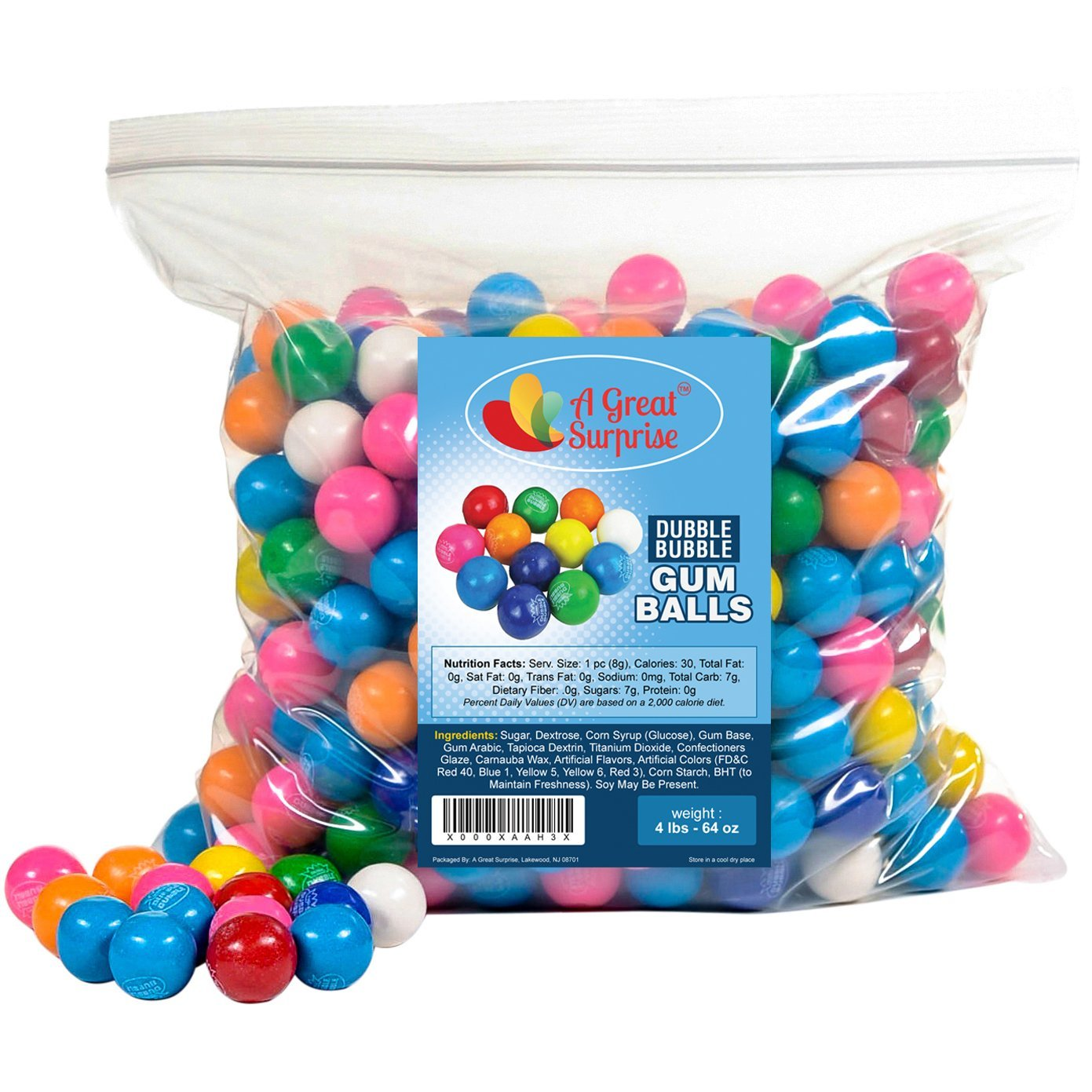 Dubble Bubble Gumballs - Gumballs in Bulk - Gumballs Refill - Gumballs for Gumball Machines - Gumballs 1 Inch, Assorted Flavors, Bulk Candy 4 LBS
