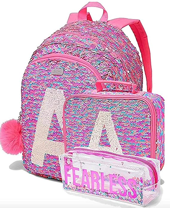 Amazon.com | Justice Set of 3 School Backpack Lunch Tote & Pencil Pouch Flip Sequin Fearless Shaky Letter Initial (A) | Kids Backpacks