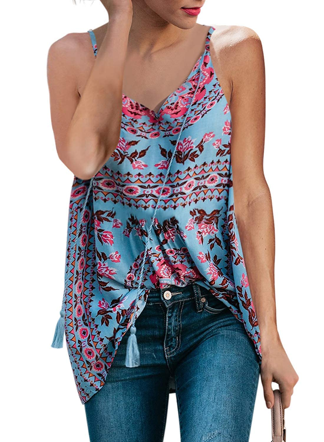 Bobopai Womens Floral V Neck Button Up Cami Tank Top Knot Front Sleeveless Blouse T Shirts