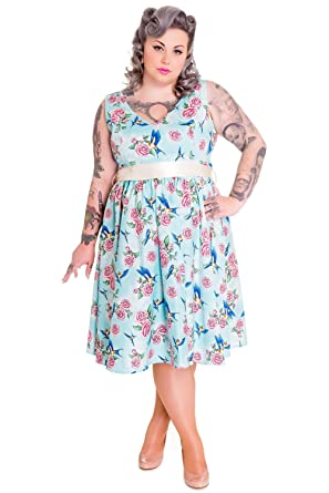 78607640dc Hell Bunny Plus 50 s Retro Vintage Blue Birds and Pink Roses with Bow Party  Dress (