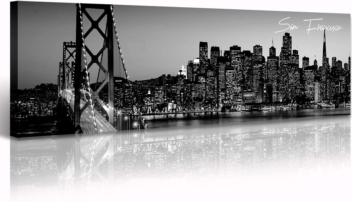 """Black and White Panoramic San Francisco Cityscape Picture Wall Decor Stretched Canvas Art Prints for Bedroom or Office Framed and Ready to Hang 13.8"""" x 47.3"""" - San Francisco 2"""